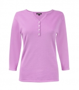 Raj Type Neck Jumper with Placket and Button Detail