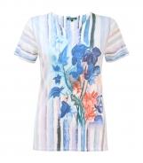 Short Sleeved Jumper Flower and Stripe Print