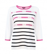 Jumper with Stripes Bows and Diamante