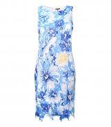 Sleeveless Dress in Printed Floral Lace