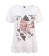 Lace Hem T-Shirt with Diamante Butterfly and Triangle Print