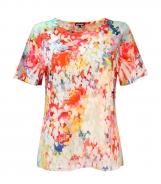 T-Shirt with Small Flower Print and Diamante