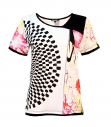 Side V-Neck T-Shirt with Circle Print