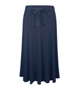 Plain Calf Length Skirt with Belt