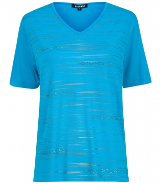 V neck T-Shirt with Printed Line Design