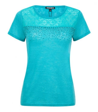 Crew Neck T-Shirt with Mesh Panel and Diamante
