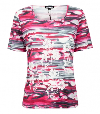 Square Neck T-Shirt with Floral and Stripe Design