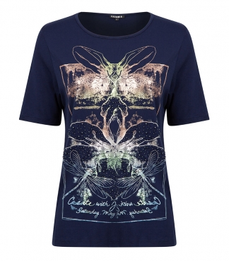 Crew Neck T-Shirt with Dragonfly and Floral Print
