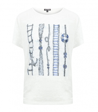 Crew Neck T-shirt with Printed Rope and Anchor Print