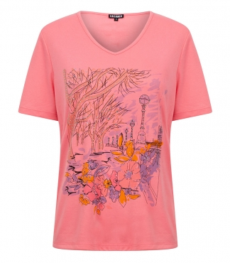 V Neck T-Shirt with Printed Park Scene