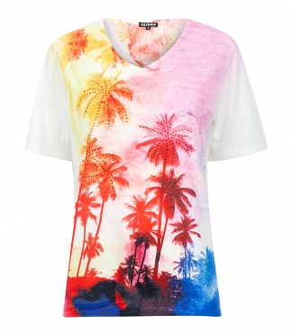 V Neck T-Shirt with Tropical Print