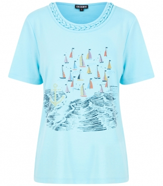 Crew Neck T-Shirt with Printed Sail Boat
