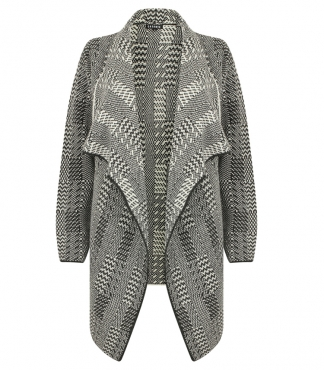 Long Sleeved Waterfall Knitted Cardigan with Zig Zag Stripe Pattern