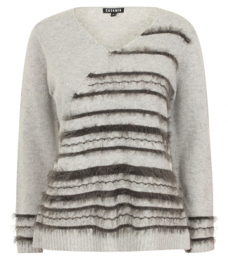 V-Neck Jumper with Asymmetric Panel and Fancy Stripes