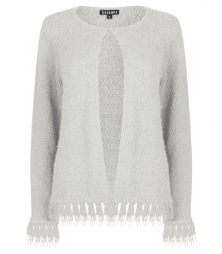 Crew Neck Cardigan with Fringed Hem and Cuffs
