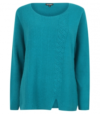 Scoop Neck Jumper with Cable and Diamante Detail