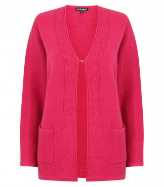 Cardigan with Cable Detail and Patch Pockets