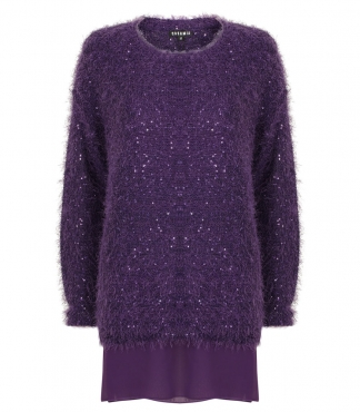 Feather Yarn Jumper with Sequins and Mock Blouse Insert