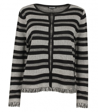 Cardigan with Stripes and Fringed Edges