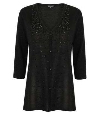 V-Neck Button-through Cardigan with Sparkles