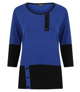 Block Colour Jumper with Mock Placket and Buttons
