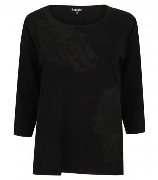 Scoop Neck Jumper with Embroidered Mesh and Diamante Detail