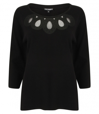 Embroidered Scoop Neck Jumper with Diamante
