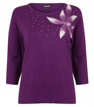 Crew Neck Jumper with Large Flower Detail