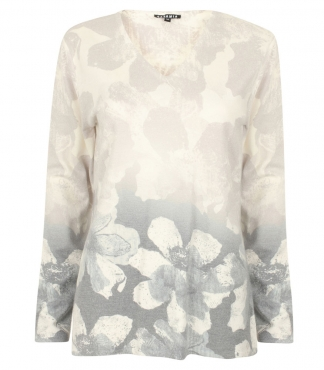 V-Neck Jumper with all-over Floral Print