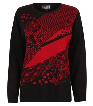 Jumper with Floral Pattern and Diamante