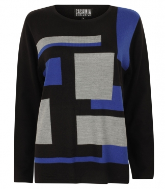 Jumper with Block and Stripe Pattern