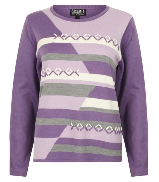 Jumper with Stripes and Diamond Patterns