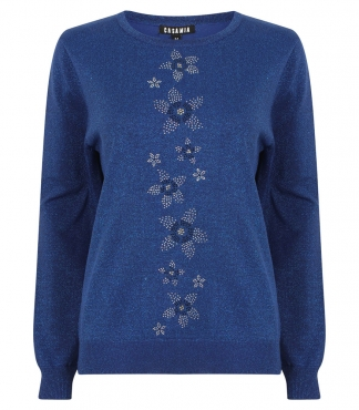 Sparkly Jumper with Diamante Flower Detail