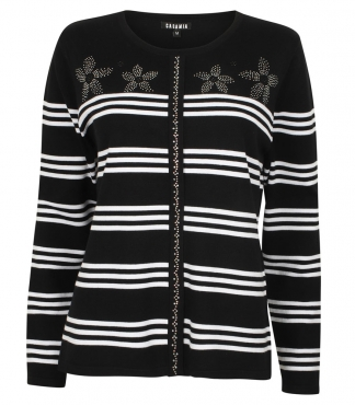 Mock Cardigan Style Jumper with Diamante Flowers and Stripes