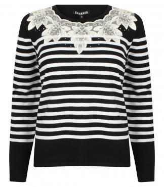 Striped Jumper with Lace and Diamante