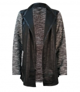 Waterfall Jacket with Mock Leaher Body