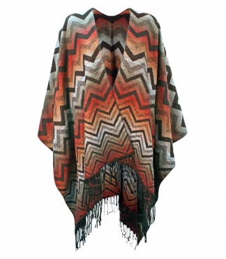 Poncho with Zigzag Pattern and Fringing
