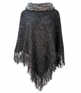 Poncho with Fur Collar and Cable Detail