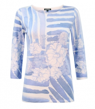 Jumper with Printed Floral and Line Design