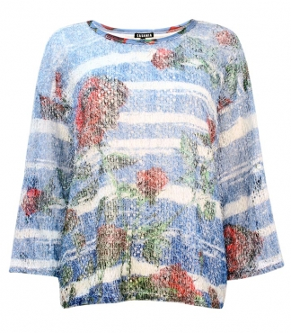 Multicolour Rose Print Feather Mesh Top