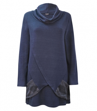 Cowl Neck Tunic Jumper with Mock Cross Over