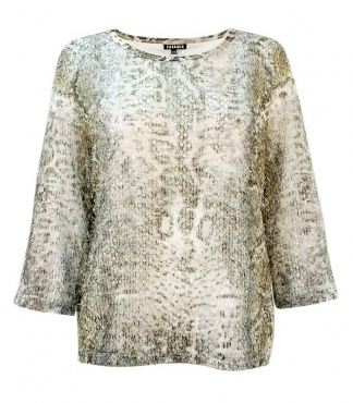 3/4 Sleeved Feather Mesh Top
