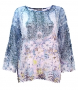 3/4 Sleeved Daisy Print Feather Mesh Top