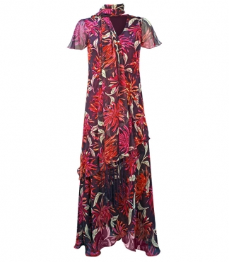 Split Sleeved Dress with Scarf