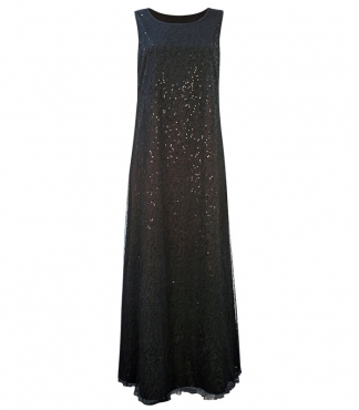 Sleeveless Long Dress with Sequin Mesh