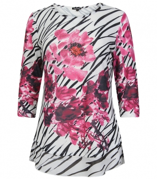 T-Shirt with Line and Flower Print