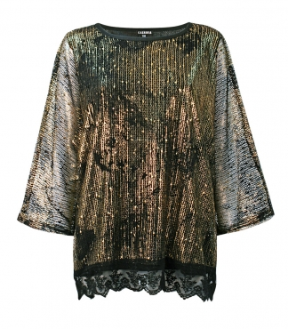 3/4 Sleeved Mesh Top with Metallic Print and Lining
