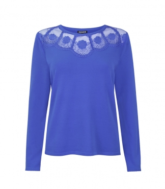 Mesh and Floral Lace Neckline Top