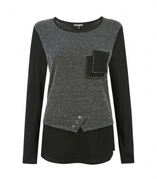 Long Sleeved Top with Pocket Detail
