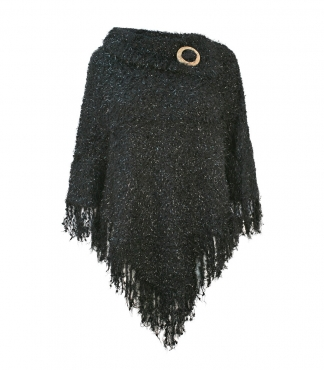 Split Collar Poncho with Fringe Hem